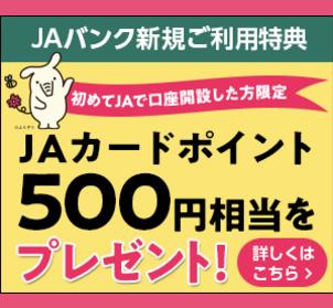 JAカードポイント500円相当プレゼントのイメージ
